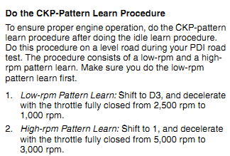 PDI Idle learn and Pattern learn procedures | Honda