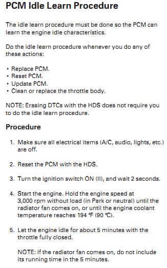 PDI Idle learn and Pattern learn procedures   Honda Ridgeline Owners